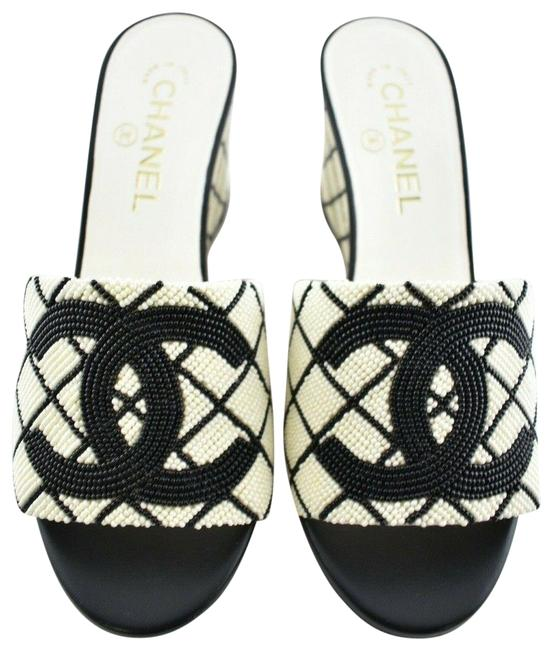 Chanel Black 20p White Pearl Beaded Cc Logo Mules Slide Backless Sandal Wedges Size EU 37.5 (Approx. US 7.5) Regular (M, B) Chanel Black 20p White Pearl Beaded Cc Logo Mules Slide Backless Sandal Wedges Size EU 37.5 (Approx. US 7.5) Regular (M, B) Image 1