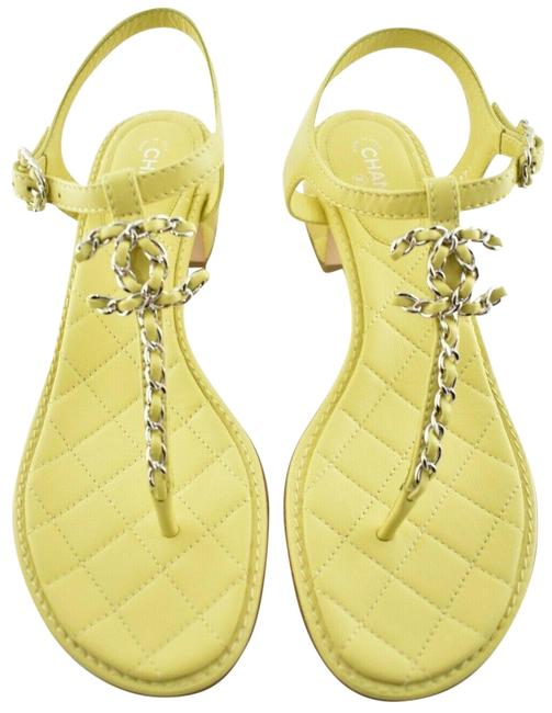 Item - Yellow 20s Silver Chain Cc Logo Mule Strap Thong Quilted Heel Flat Sandals Size EU 38 (Approx. US 8) Regular (M, B)