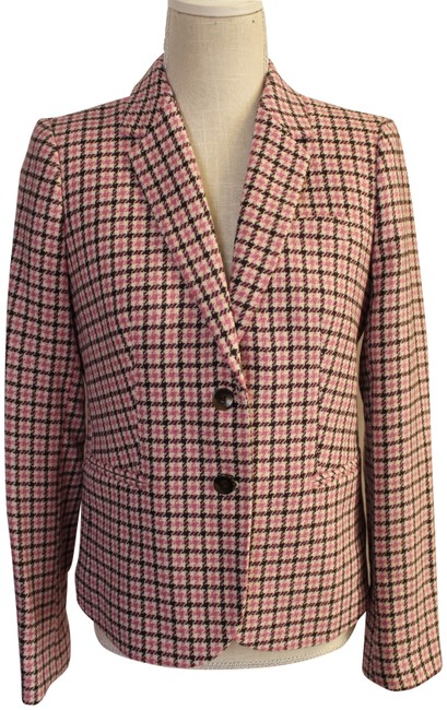 Item - Pink/Brown Plaid Check Wool Blend Jacket Coat Blazer Size 12 (L)
