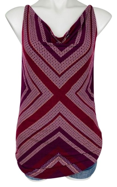 Item - Red Purple # 3084 Maroon Printed Draped Tank Top/Cami Size 4 (S)