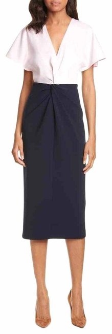 Item - Navy and Light Pink London Ellame Wrap Over Bodycon Us Mid-length Work/Office Dress Size 6 (S)