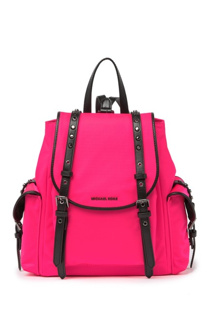 Item - Leila Small Flap Neon Pink Nylon Backpack