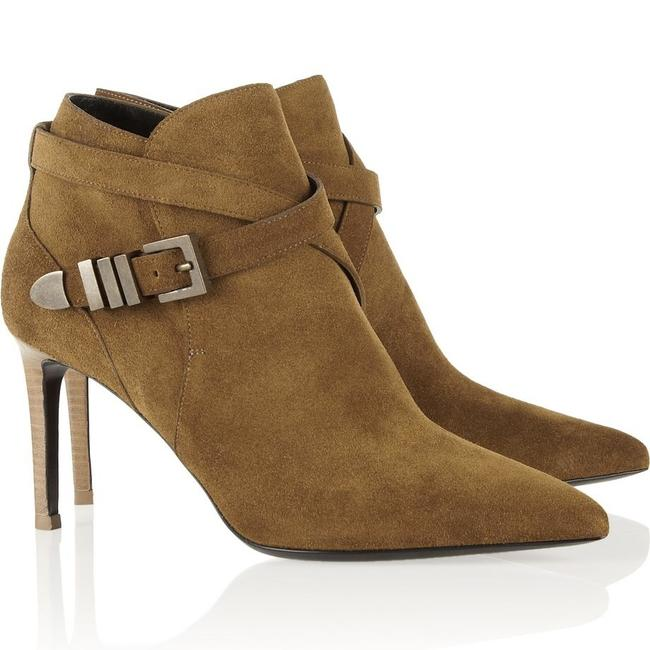 Saint Laurent Tan Suede Buckle Pointed Toe Ankle Boots/Booties Size EU 40 (Approx. US 10) Regular (M, B) Saint Laurent Tan Suede Buckle Pointed Toe Ankle Boots/Booties Size EU 40 (Approx. US 10) Regular (M, B) Image 1