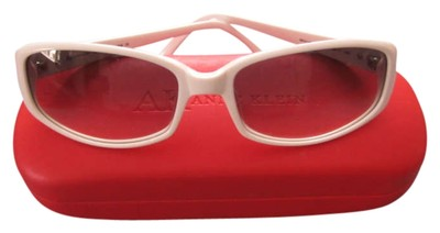Anne Klein Anne Klein White frame sunglasses with red hard side case