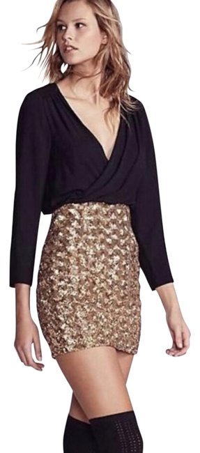 Free People Black and Gold X Fame Partners Richie Sequin Mini Short Cocktail Dress Size 10 (M) Free People Black and Gold X Fame Partners Richie Sequin Mini Short Cocktail Dress Size 10 (M) Image 1