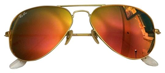 Ray Ban Gold Frame Orange Lens Rb3025 Large Aviator Sunglasses 11269 Mirror GoldOrange Sunglasses 18% off retail