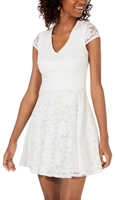 Item - Off White Juniors' Lace Tie-back Fit & Flare 9/10 Mid-length Cocktail Dress Size 8 (M)