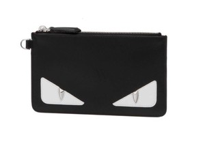 Fendi FENDI Fendi Men's Black Leather Slim Pouch