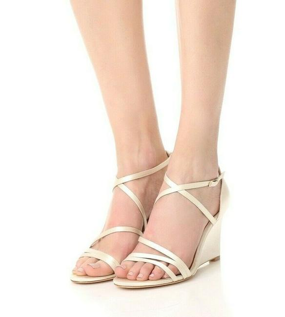Item - Ivory Strappy Wedge Heel Ankle Strap Satin Sandals Size US 7.5 Regular (M, B)