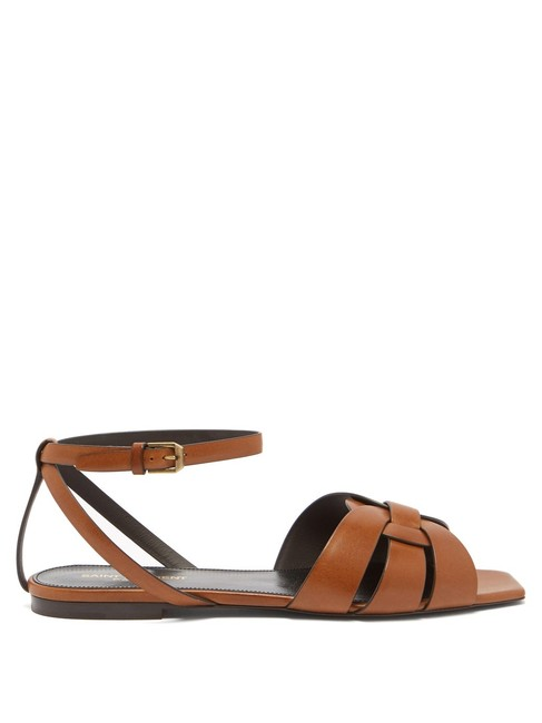 Saint Laurent Tan Tribute Mf Leather Flat Sandals Size EU 36 (Approx. US 6) Regular (M, B) Saint Laurent Tan Tribute Mf Leather Flat Sandals Size EU 36 (Approx. US 6) Regular (M, B) Image 1