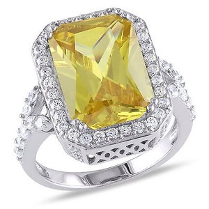 Silver Platinum Plated 15 Ct Tgw Yellow Emerald Cubic Zirconia Engagement Ring