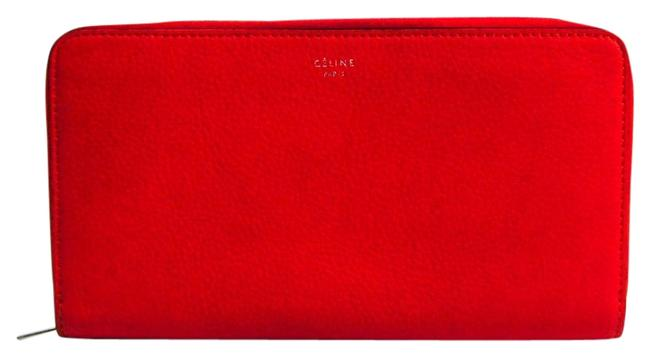 Item - Orange Red Long Zipped Multifunction Women's Calfskin (Bi-fold) Wallet