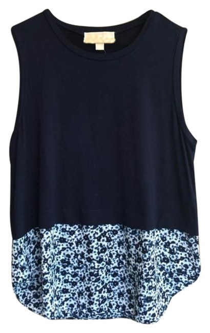 Item - Blue White Navy Floral Sleeveless Blouse Tank Top/Cami Size 12 (L)