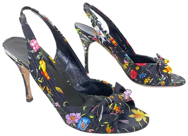Item - Floral Women's Black Satin Slingback Heels with A Bow Pumps Size EU 37.5 (Approx. US 7.5) Wide (C, D)
