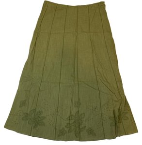 per una Boho Embroidered Maxi Skirt Green