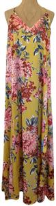 Yellow Floral Maxi Dress by Nicole Miller Summer Vacation Boho Long Satin