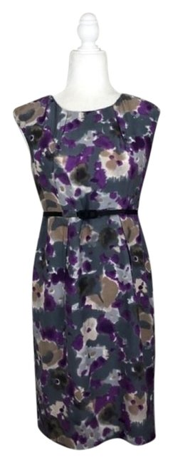 Item - Purple Gray Silk Belted Shift Short Casual Dress Size 4 (S)