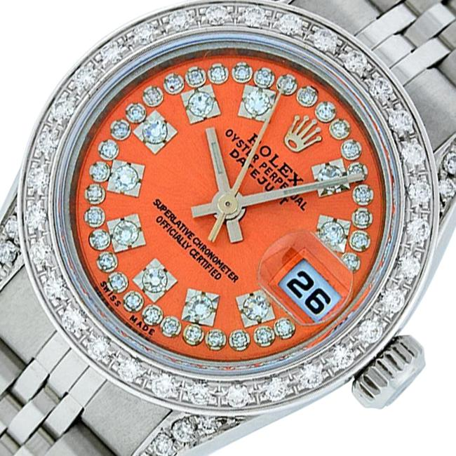 Item - Orange Ladies Datejust Stainless Steel with Diamond Dial Watch