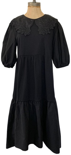 Item - Black L Pre-owned Embroidered Collar Mid-length Casual Maxi Dress Size 12 (L)