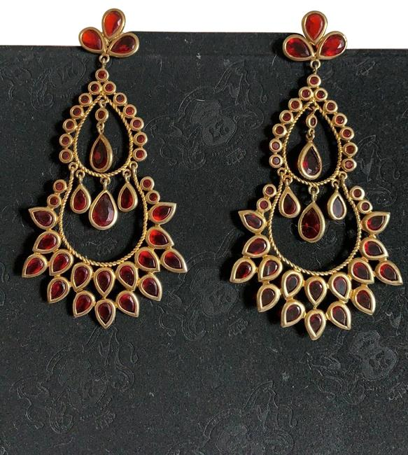 Item - Red and Gold Chandelier Earrings