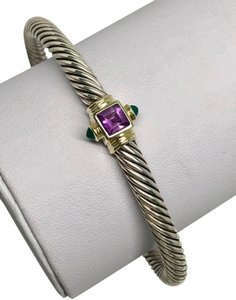 David Yurman 5mm Renaissance Cable Cuff Bracelet Amethyst Emerald