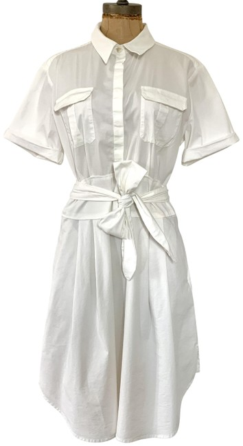 Item - White Pre-owned Maya Belted Shirtdress (8) Mid-length Casual Maxi Dress Size 8 (M)