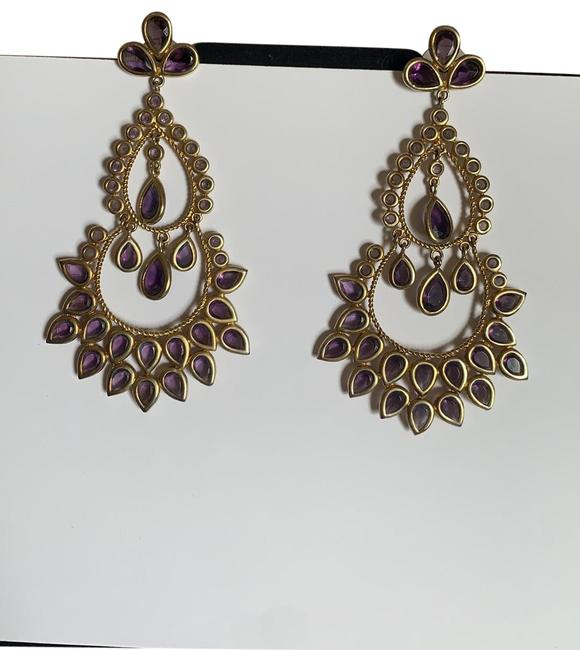 Item - Violet and Gold Chandelier Earrings