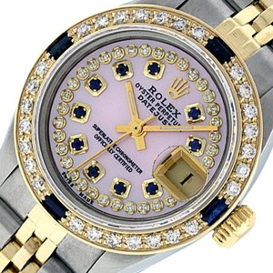 Rolex Ladies Datejust Ss/Yellow Gold with MOP String Sapphire Diamond Dial