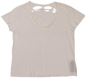 Unravel Project Cotton Distressed Classic Summer T Shirt White