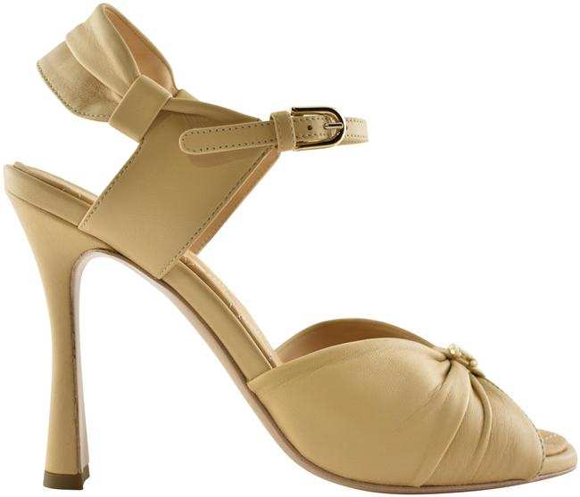 Item - Beige 20p Lambskin Leather Cc Pearl Ankle Strap Mule Heel Pump Sandals Size EU 39.5 (Approx. US 9.5) Wide (C, D)