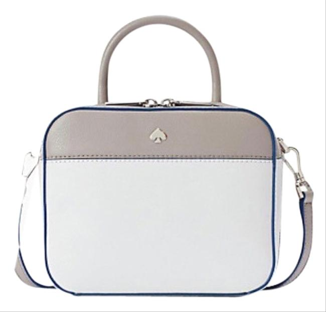 Item - Camera Maddy Top Handle White/ Gray Leather Cross Body Bag