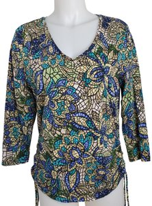 Caribbean Joe Cinched Sides 3/4 Sleeve Stained Glass Print V-neck Top Multi