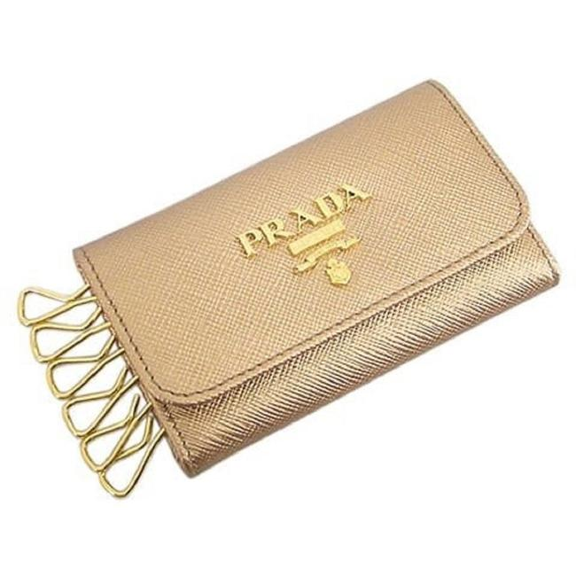 Item - Gold Saffiano Leather Key Platino 1pg222 Wallet