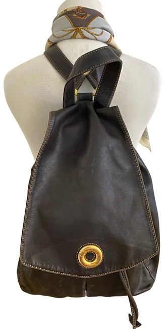 Item - Drawstring Vintage with A Dust Black and Gold Leather Backpack