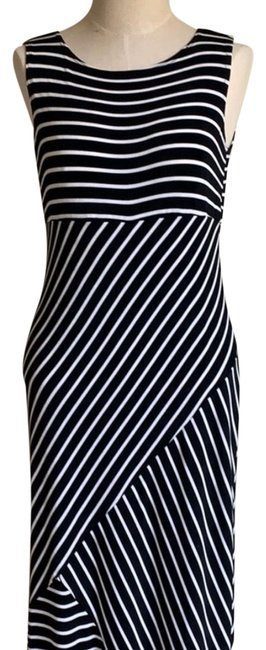 Item - Black and White Striped Long Casual Maxi Dress Size 4 (S)