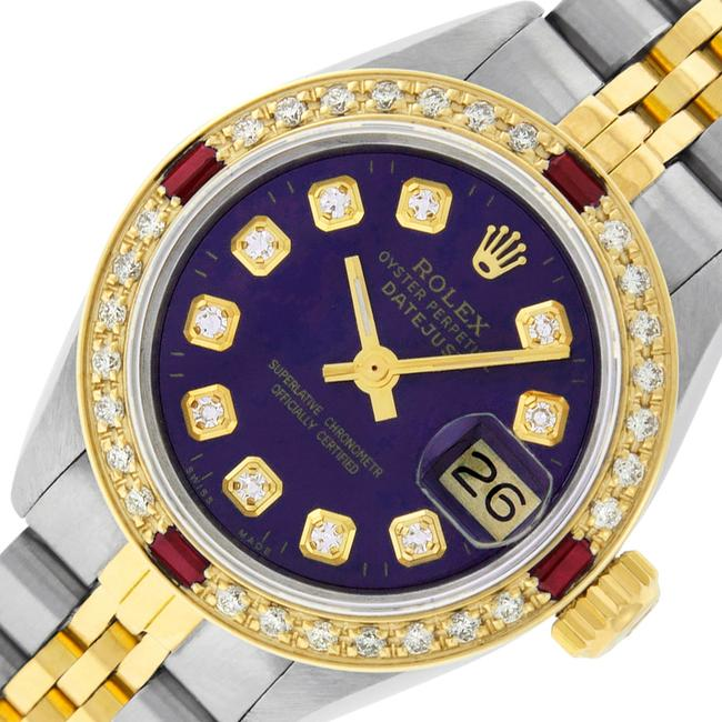 Item - Purple Ladies Datejust Ss/Yellow Gold with Diamond Dial Watch