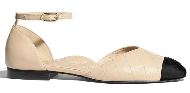 Item - Beige 20s Black Cc Logo Mary Jane Ankle Strap Ballet Ballerina Flats Size EU 38 (Approx. US 8) Regular (M, B)