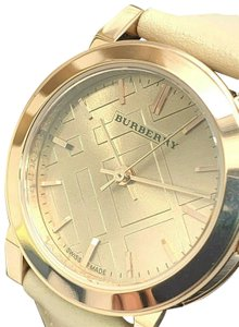 Burberry Burberry Womens BU9210 Rose Gold Case Leather Strap Swiss Watch Petite