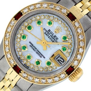 Rolex Ladies Datejust Ss/Yellow Gold with MOP String Emerald Diamond Dial