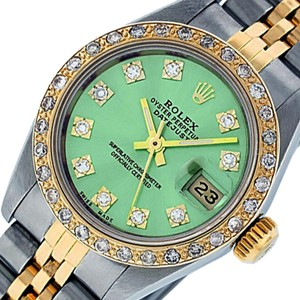 Rolex Ladies Datejust Ss/Yellow Gold with Ice Green Diamond Dial Watch