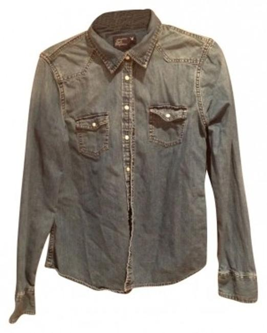 Preload https://item2.tradesy.com/images/american-eagle-outfitters-denim-colored-cotton-button-down-top-size-10-m-27446-0-0.jpg?width=400&height=650
