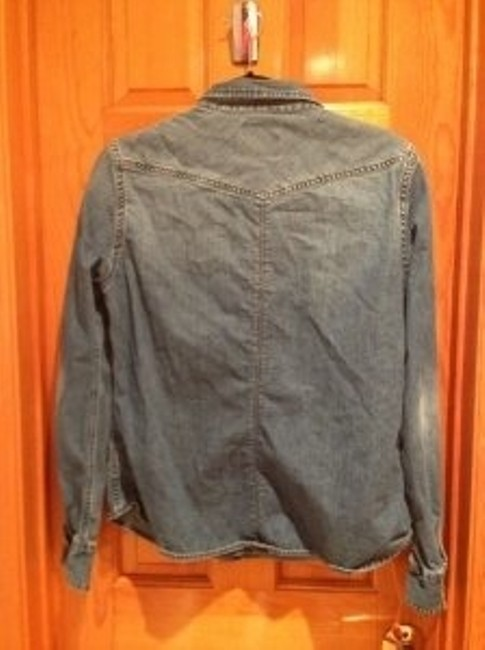 American Eagle Outfitters Colored Cotton Button Down Shirt Denim