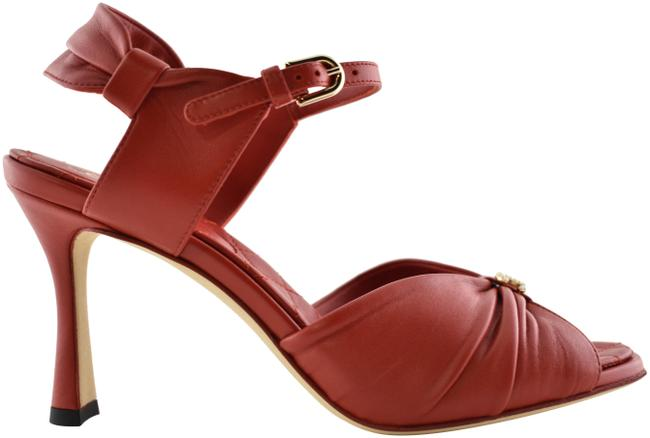 Item - Red 20p Lambskin Leather Cc Pearl Ankle Strap Mule Heel Pump 37c Sandals Size EU 37 (Approx. US 7) Wide (C, D)