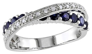 Other Sterling Silver 110 Ct Diamond Tw 1 Ct Tgw Blue Sapphire Crossover Ring Gh I3