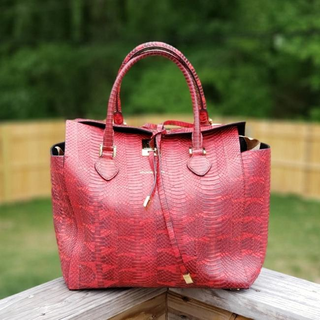 Michael Kors Collection Miranda Red Mangrove Snake Tote Michael Kors Collection Miranda Red Mangrove Snake Tote Image 1