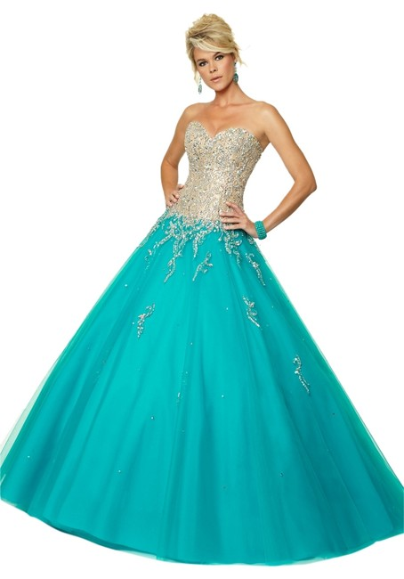 Mori Lee Ball Gown Corset Beaded Prom Dress