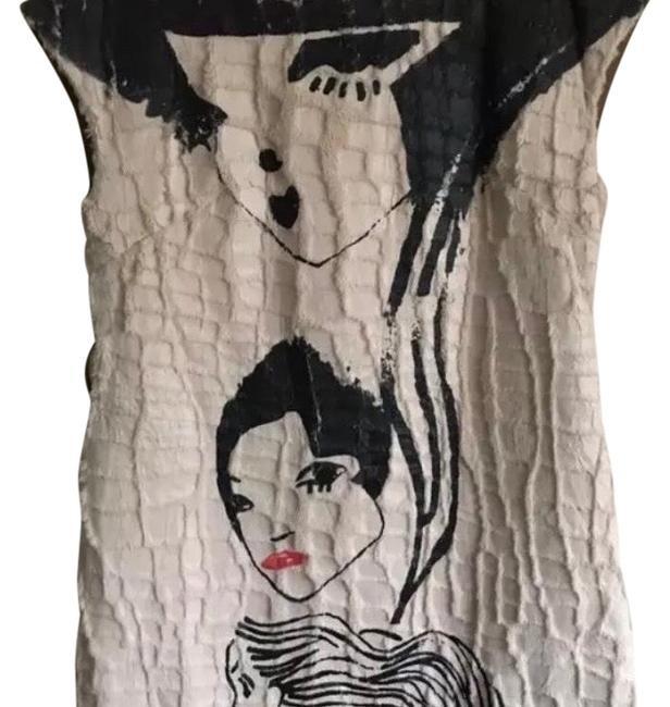 Item - Brown Black Off-white Pop Art Collectible Handpainted Mid-length Short Casual Dress Size 6 (S)