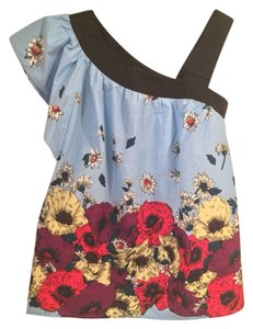 French Connection Floral One Top Fondant Blue/Black