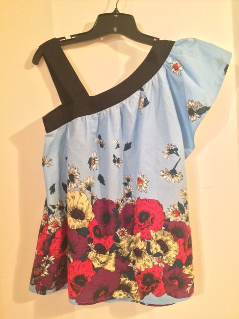 French Connection Floral One Shoulder Top Fondant Blue/Black
