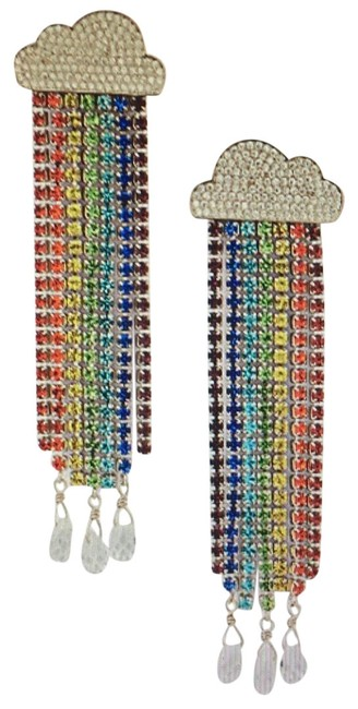 Item - Red Orange Yellow Teal Blue Purple & Clear Into The Sky Rainbow Linear Earrings